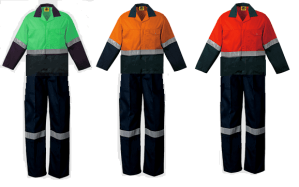 Two Tone Green - Orange - Red Conti Suit Overalls