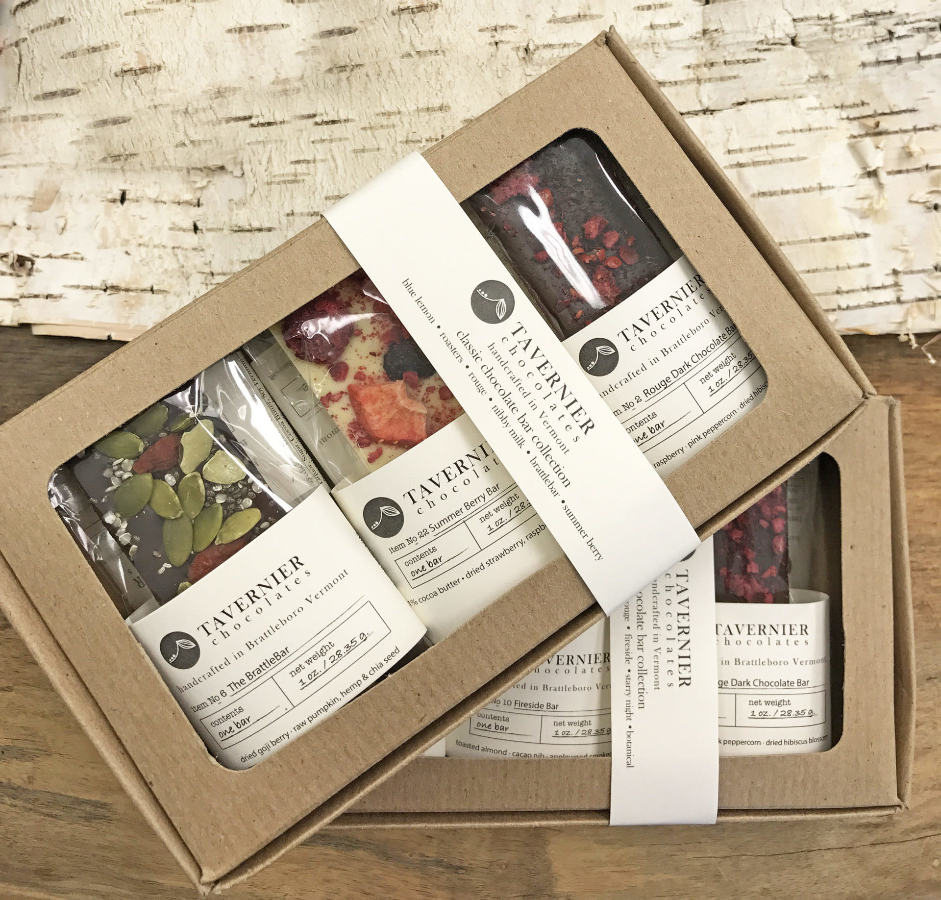 Chocolate Bar Box Collection - Two Packages of Tavernier Chocolate Bars
