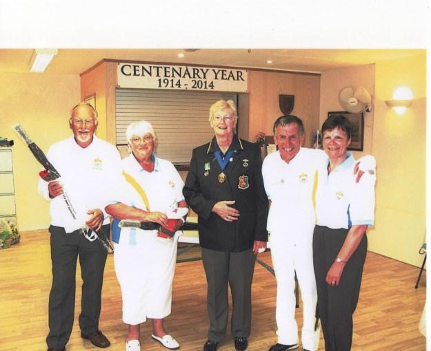 The winning team from Madeira Bowling Club with the Tavistock Sir Francis Drake Bowling Club Chairman, Sue Silcox