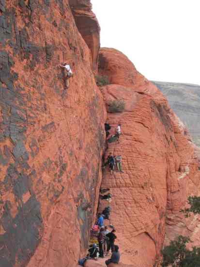 sport lead climbing