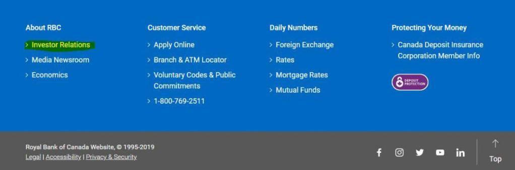 Royal Bank Investor Relations link