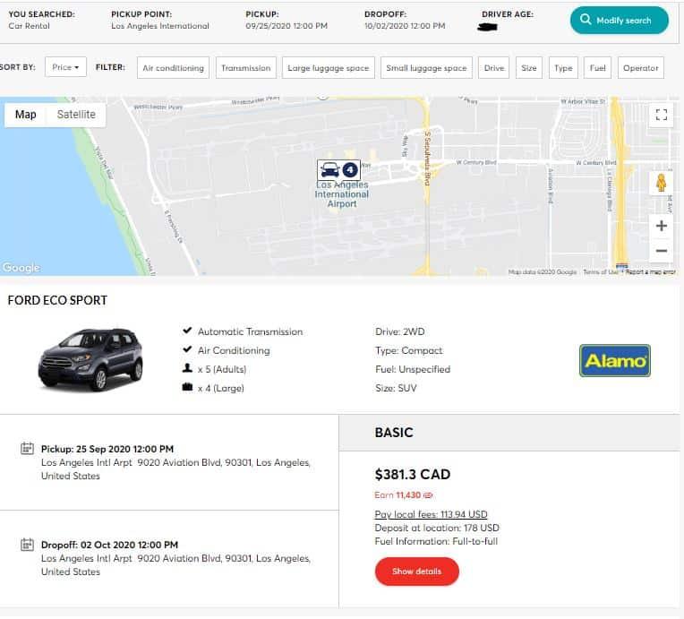 PC Travel car rental