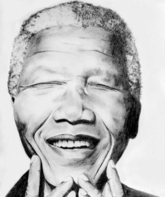 Tawnya Williams gallery, Nelson Mandela, graphite pencil drawing, drawing of Nelson Mandela, Tawnya Williams Art
