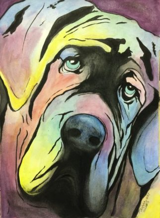 Tawnya Williams Art, Tawnya Williams gallery, Watercolor Mastiff, Ink Mastiff, Mastiff face, Mastiff drawing, Mastiff art, Tawnya Williams Art