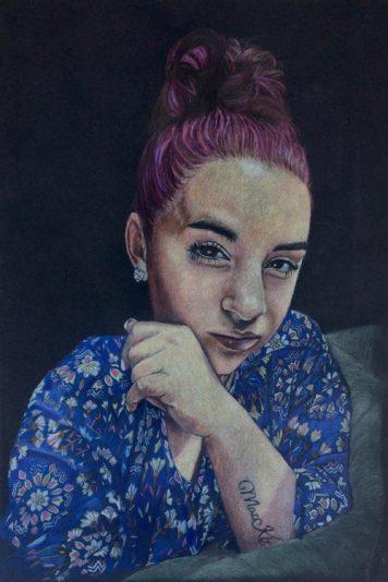 Colored Pencil Portrait, Kira, Polychromo Pencils