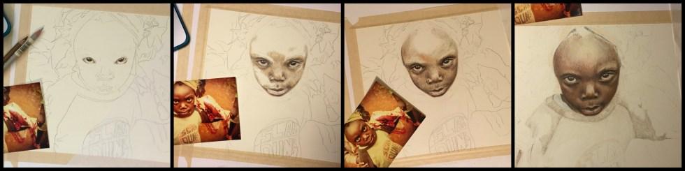Haitian Girl, Portrait Drawing, Own an Original, Polychromo Drawing, Colored Pencil Portrait, Haiti