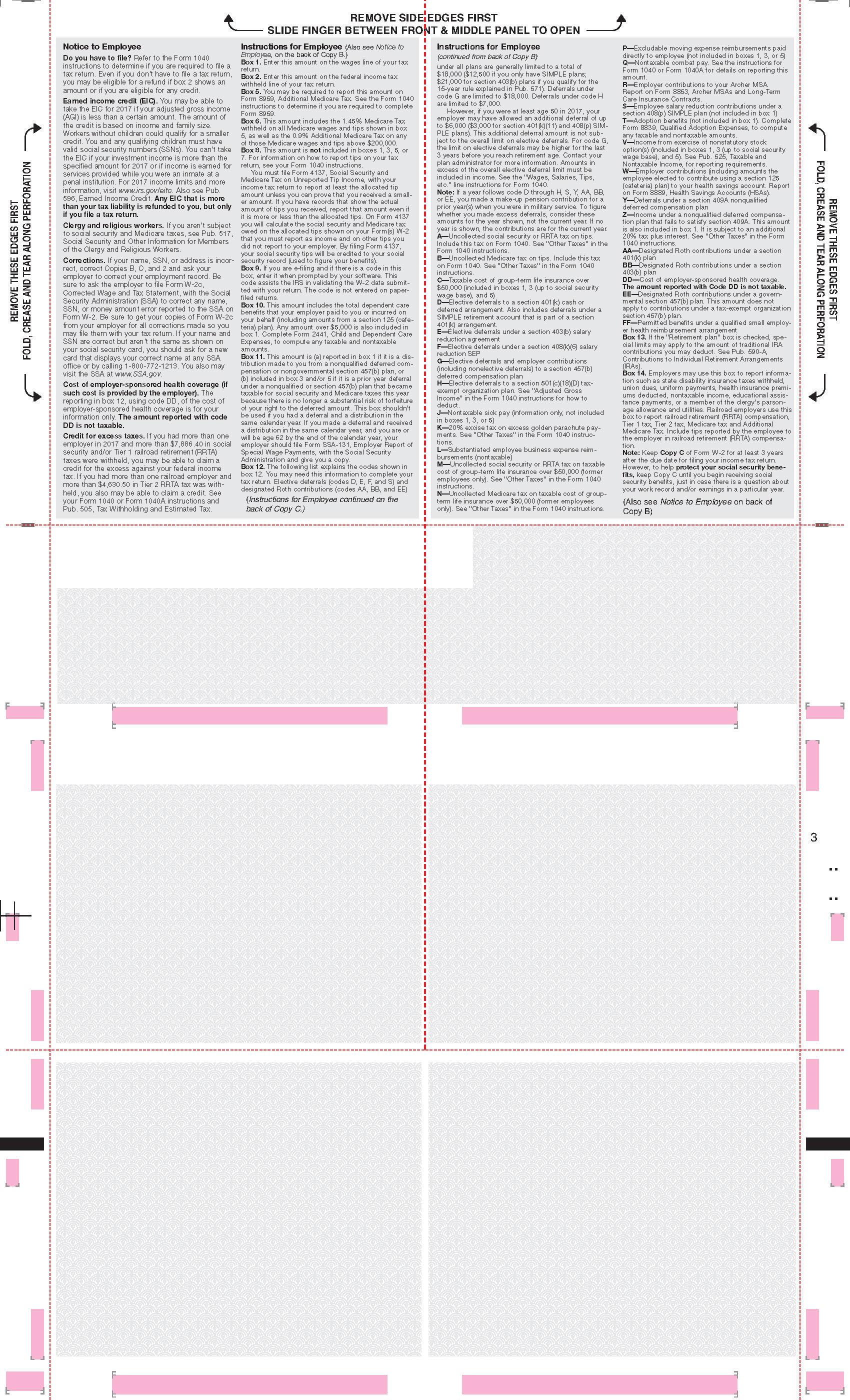 W 2 Blank Face Ez Fold Instructions On Back 4 Corner