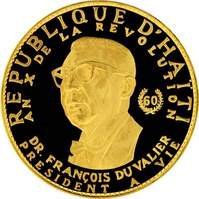 Papa Doc Duvalier on Obverse of 1967 Haiti 1,000 Gourdes