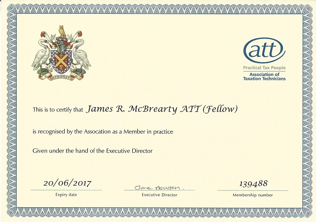 James McBrearty ATT Fellow Member in Practice 2016 2017