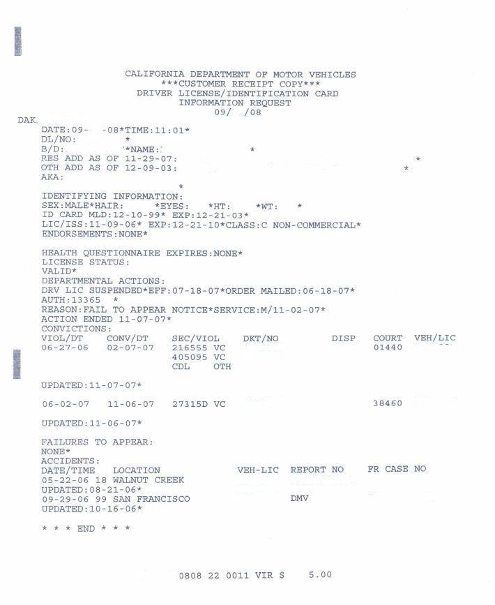 Dmv h6 motor vehicle report for Motor vehicle report california dmv