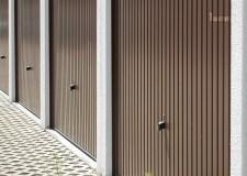 A row of closed garage doors
