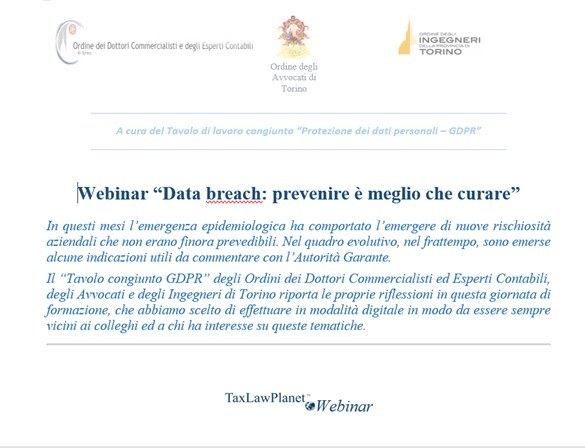 Webinar – Data Breach – Prevenire è meglio che curare