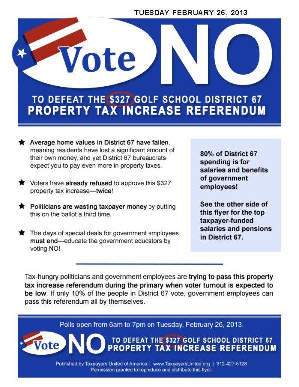 Vote No on Golf School Dist. 67 Property Tax Increase ...