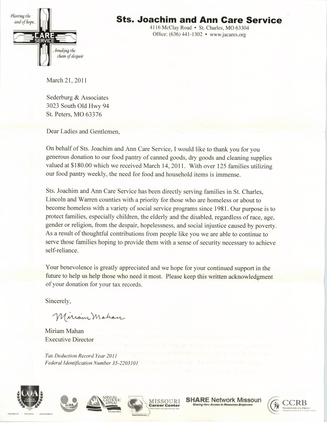 Thank You Letter Sample For Charity] example for cover letter ...