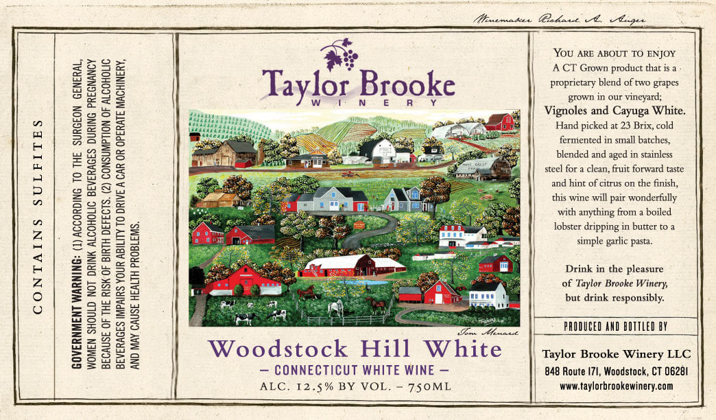 woodstock hill white wine label