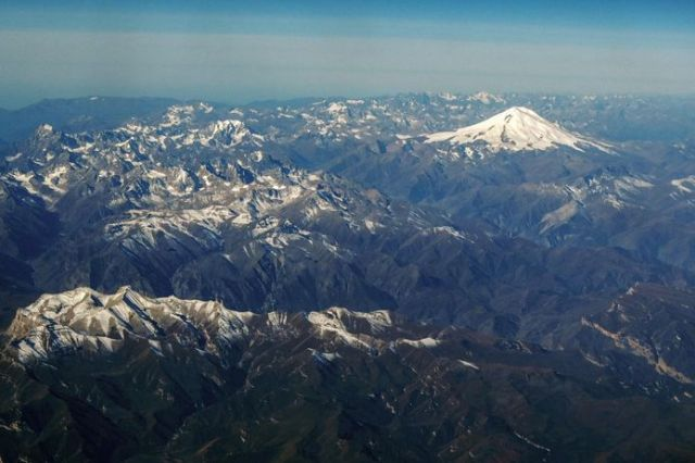 The Caucasus Mountains in Russia with Mount Elbrus (5,642 m) in the background.