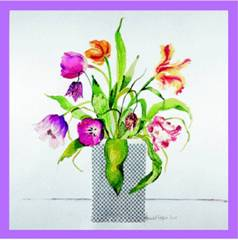 Flower Prints Tulips with Blue Vase