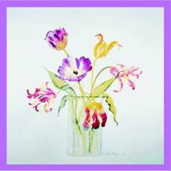 Flower Prints Vase of Tulips