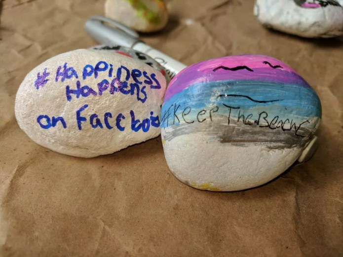 Our Hashtags on our painted rocks