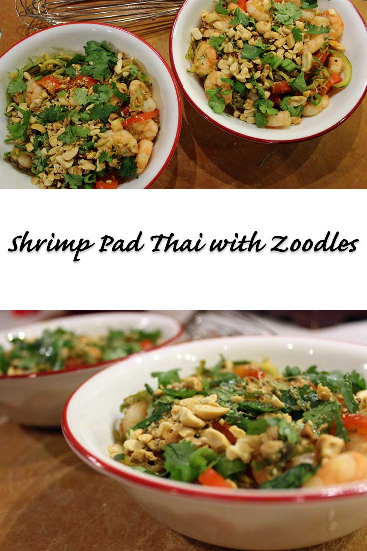 Shrimp Pad Thai with Zoodles - Cut the calories of traditional Pad thai with this delicious low calorie version that uses spiralized zucchini noodles instead of traditional noodles.