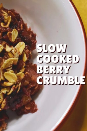 Slow Cooker Berry Crumble is an easy, no-sugar-added recipe that can double as a dessert or breakfast. Just a few simple ingredients and a little while in the crock pot and it's ready to eat!