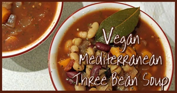 This delicious Vegan Mediterranean Three Bean soup adds wine to the broth for an interesting, rich depth. Substitute more vegetable broth if you prefer to cook without the wine. It's vegan, low-calorie, high fiber, and high protein to keep you full!