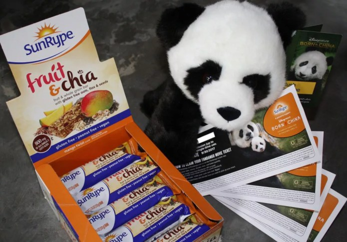 Weekly Born In China Prize Package - SunRype snacks, Four movie tickets, and a plush Panda.... Awww!