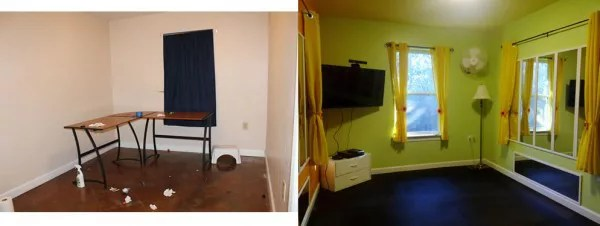 Our workout room - before and after