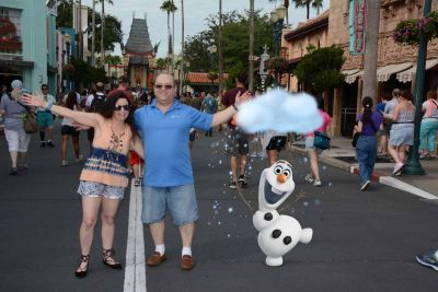 Olaf jumped in on the fun. I wasn't complaining. The hot weather needed his snow clouds