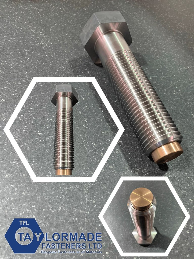 M42 x 160 Hex Head Bolts, A4-80 with Bronze Tip