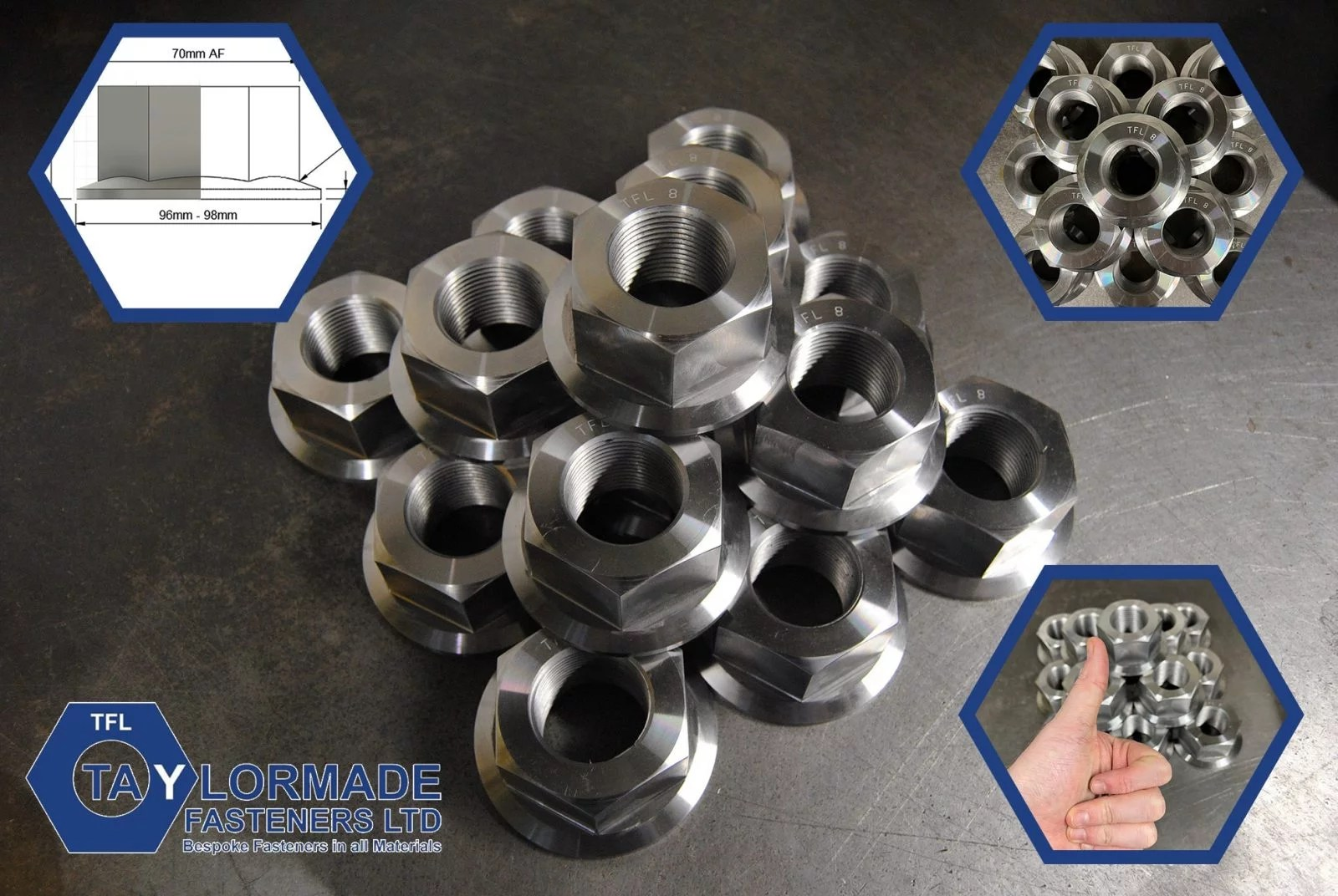 M45-3p (45mm o.all) Hex Nuts