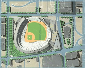 Overhead perspective of aborted Labatt Park concept - not the work of the author