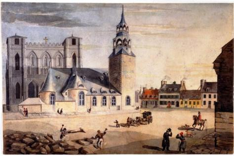 Place d'Armes - 1828, with the Parish Church and Notre-Dame Basilica standing side-by-side.