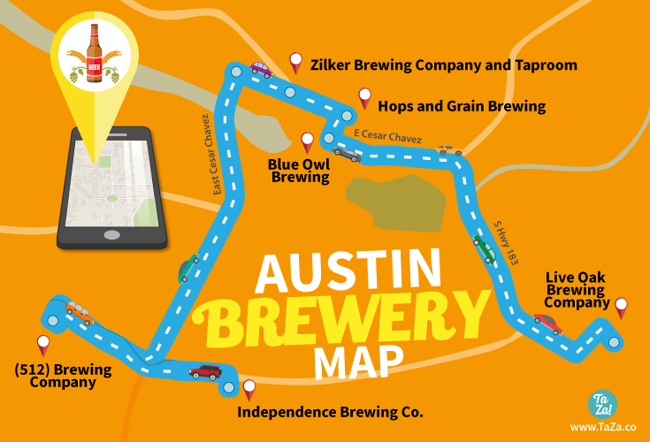 Map Of Texas Breweries.The Austin Brewery Map For The Perfect Day Of Beer Taza Design