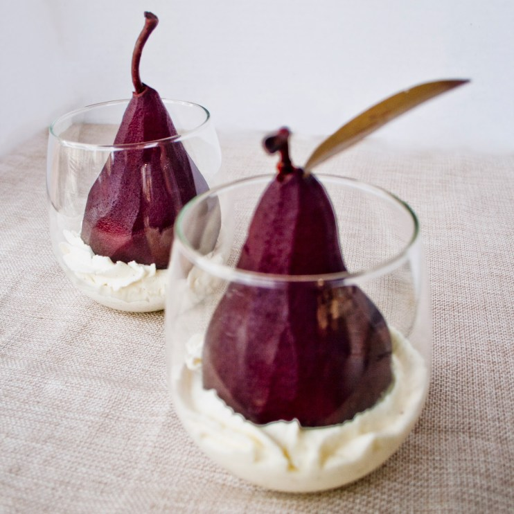 red wine pears mascarpone