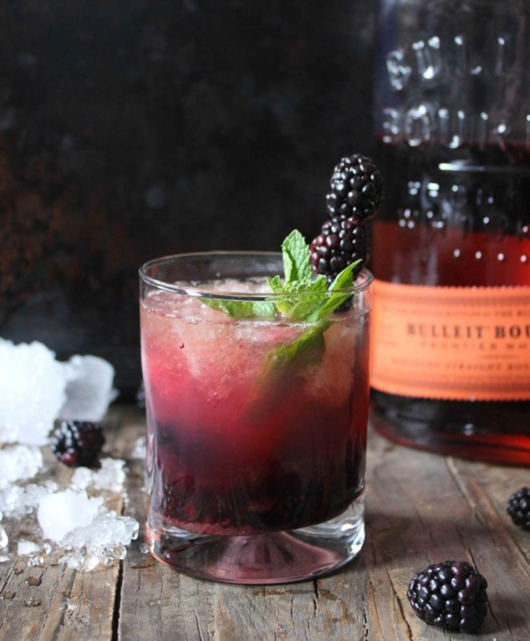 Black-beery whisky smash holiday cocktail