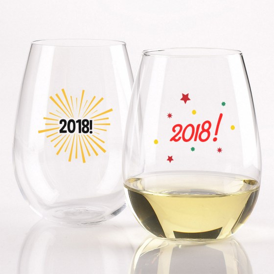 personalized wine glasses new year