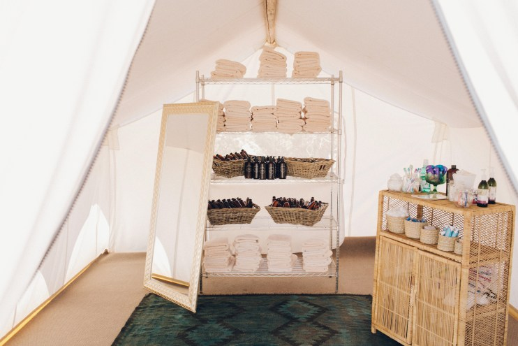 spa station for glamping wedding
