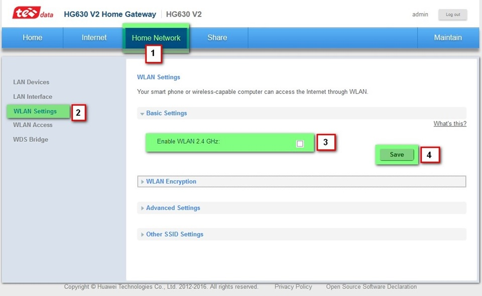 شرح اعدادات راوتر هواوى HG 630 v2 و HG633 13