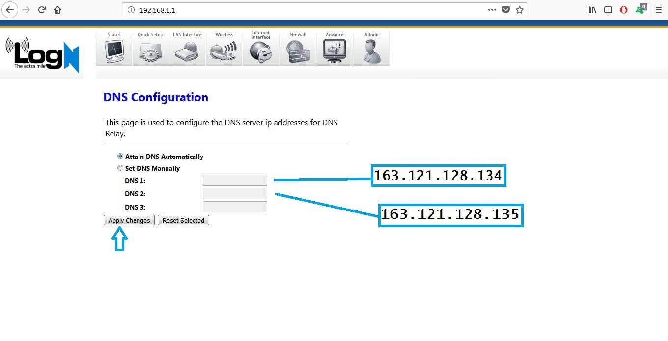 adding dns on logn router 1
