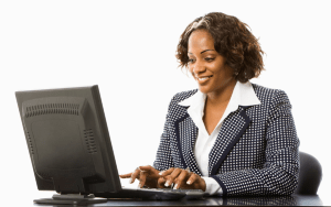 woman using laptop via cloud computing