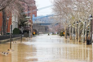flooding in a town