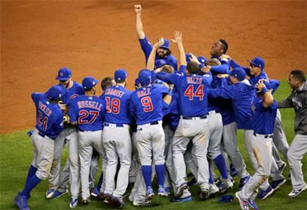 baseball team celebrates winning the world series