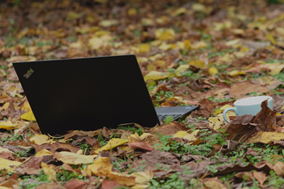 A laptop sits in a pile of autumn leaves next to a white coffee cup.