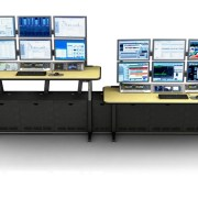 """ControlTrac - Process Control Console (CT-E 3+3) - 6 monitor bridge, 4 RU rack turrets, and Custom Linoleum Top with Bumper Edge 5/8"""" thick matte black finish."""