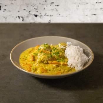 Curry Hackbällchen mit Reis