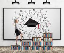 woman stepping bookshelves graphic