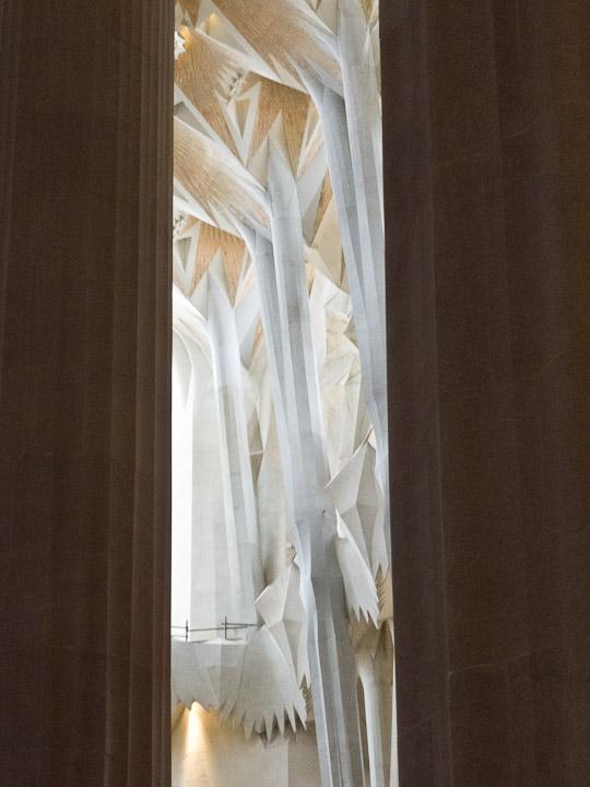 Sagrada Familia, interior with columns and pillars