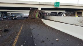 Truck Falls   Florida Highway Patrol   Truck Overturns