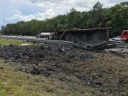 Semi Overturns, Catches Fire on I-75 in Pasco
